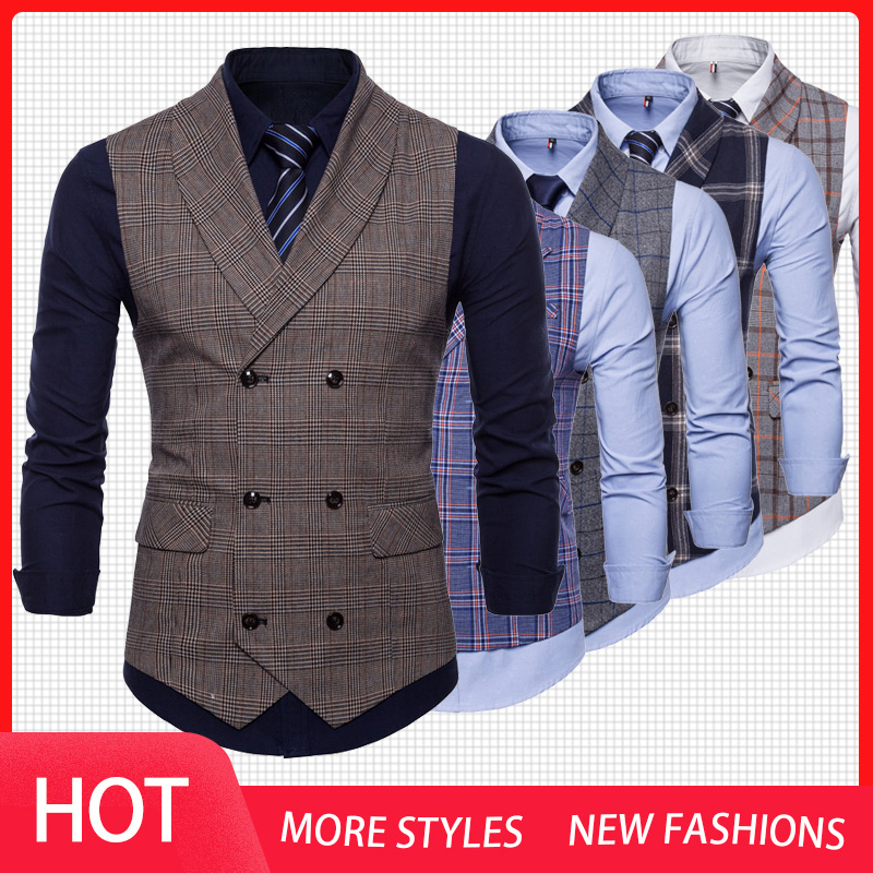 New 2019 Tweed Suit Men Vest Plaid Sleeveless Jacket Vests For Men Waistcoat Vintage Men's Vest With Lapel Gilet Homme Costume