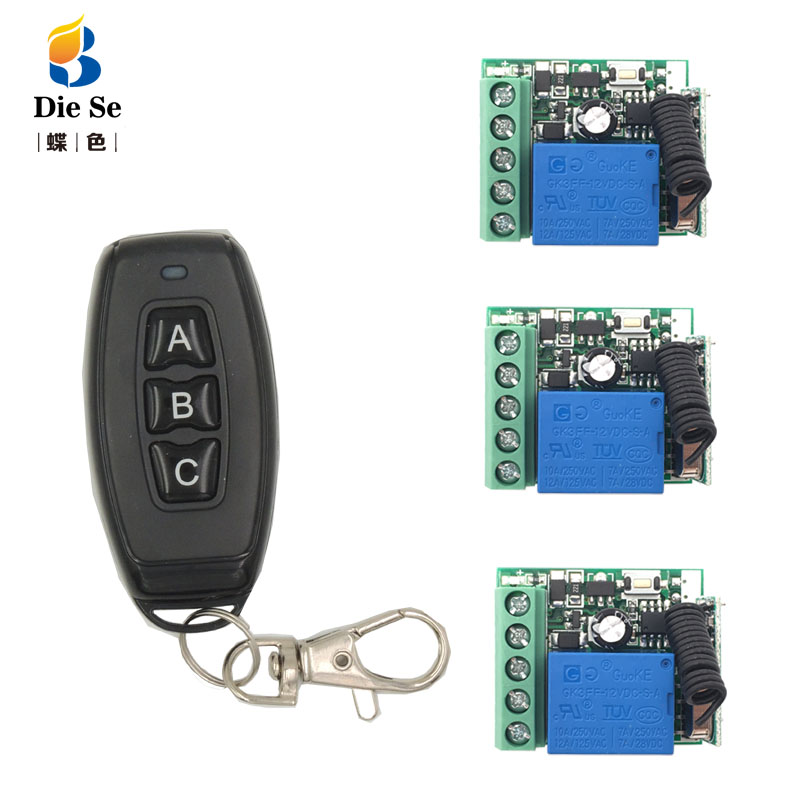 DieSe RF 433MHz Universal Wireless Remote Control DC12V 1CH Relay Receiver Module 3 Buttons For Lamp 1 transmitter 3 functions image