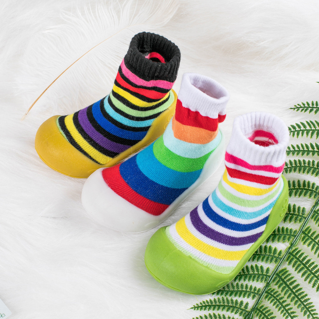 2019 New Autumn Infant Newborn Baby Boys Girls Striped Rainbow Winter Boots Prewalker Warm Shoes Sapato Infantil Kids Shoes Hot