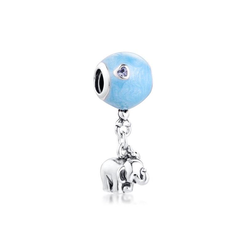 925 Original Elephant & Blue balloon Dangle Charm Fits Pandora ...