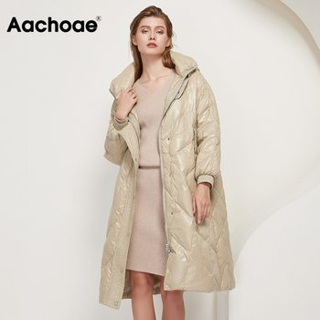Aachoae Fashion New Winter White Duck Down Jacket Women Loose Hooded Long Thick Warm Coat Female Long Sleeve Pockets Outerwear