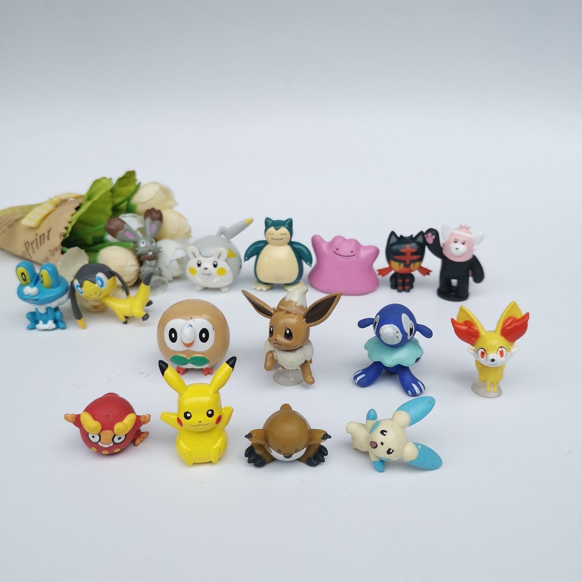 16 шт./компл. 2,5-5 см аниме Рисунок Игрушки для детей рождественские подарки мультфильм аниме pokemones фигурку модели игрушки с дистанционным