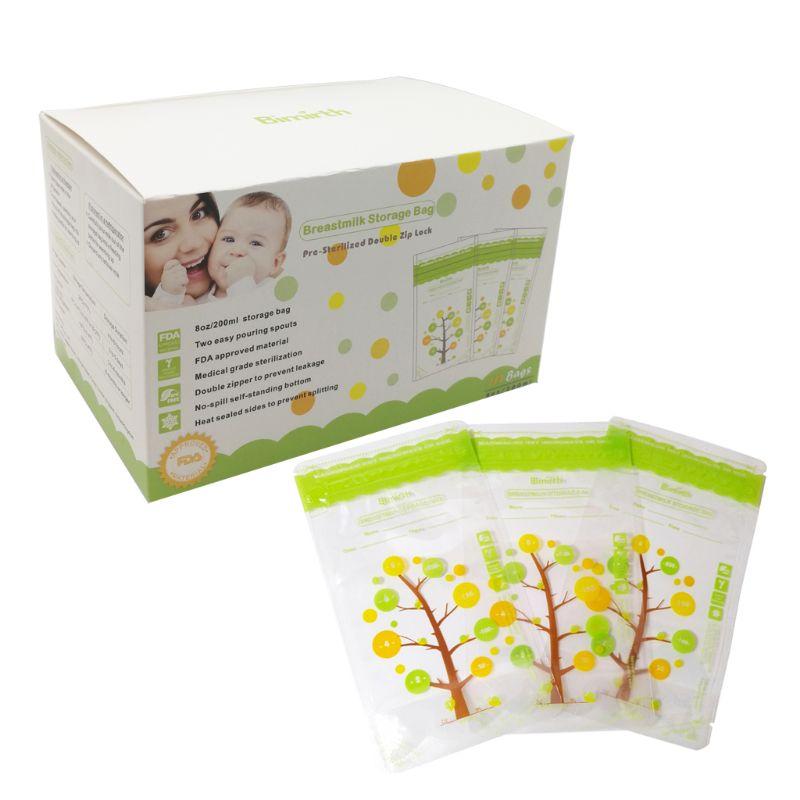 112Pcs 235ml Baby Breast Milk Storage Bags Leak Proof Sterilized Baby Food Safe Breast Milk Freezer Storage Bag For Baby Feeding