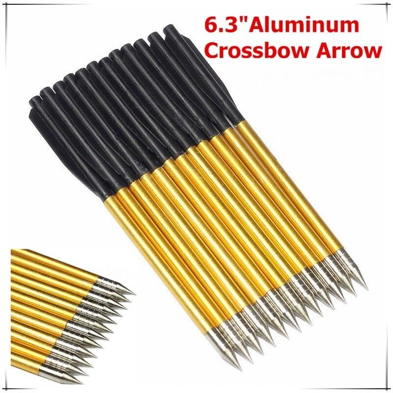 6.3inch Aluminum 12PCS 160mm Golden Color Crossbow Bolts Arrow For 50/80Lbs Mini Crossbow Compoud Bow