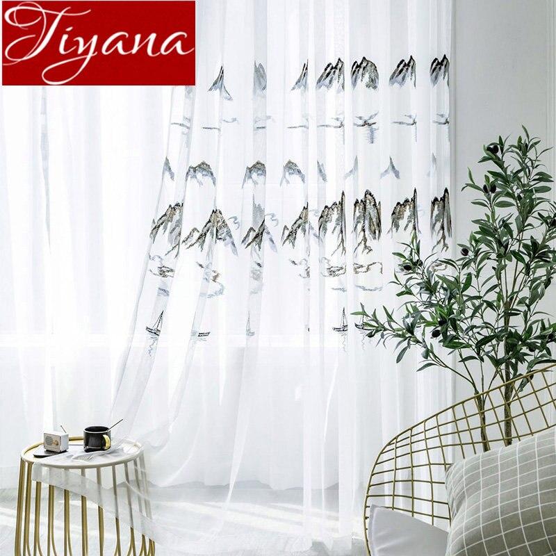 Landscape Design Embroifery Voile Curtain Scenery Sheer Fabrics Living Room Custom Balcony Chinese Style Tulle Drape M167#30