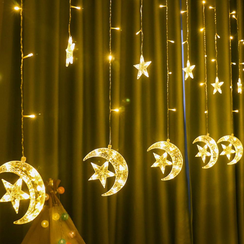 EU Led Moon Star Icicle Curtain String Light Fairy Garland Light Outdoor Christmas Wedding New Year Party Hotel Restaurant Decor