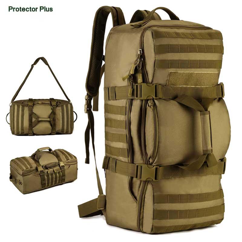 Protecteur Plus 60L nylon tactique armée sac militaire camping sac à main randonnée voyage sac à dos trekking messenger sac étanche