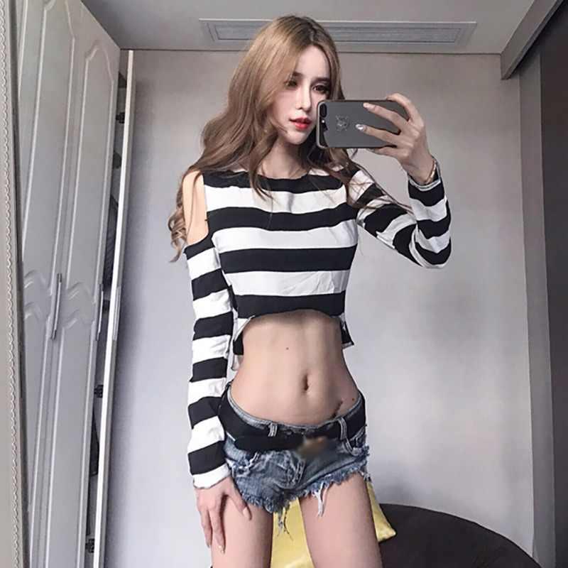 섹시한 짧은 스웨터 여성 불규칙한 줄무늬 인쇄 슬림-긴팔 라운드 칼라 슬림 하단 자른 오프-어깨 점퍼
