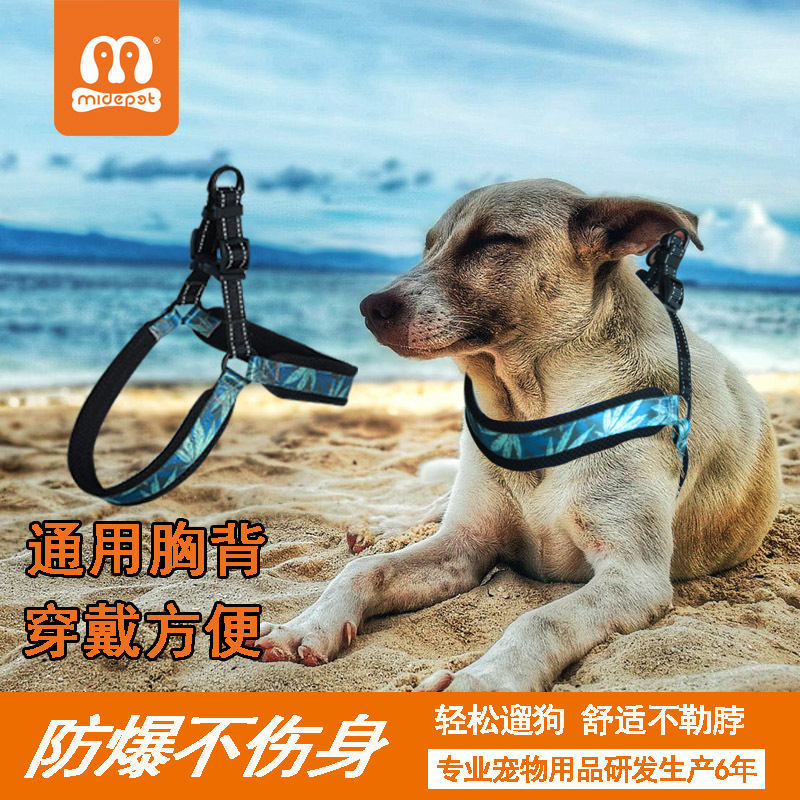 Pet Large Dog Nylon Proof Punch V-Shaped Safe Chest And Back Small Dogs Large Dog Shining Suspender Strap Hand Holding Rope