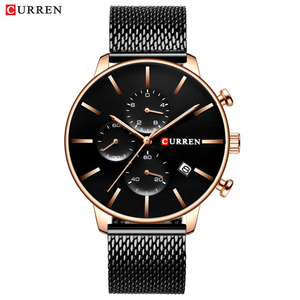 Image 3 - CURREN 메쉬 스트랩 스테인레스 스틸 쿼츠 시계 남성 캐주얼 남성 시계 크로노 그래프 및 자동 날짜 손목 시계 Reloj Hombre