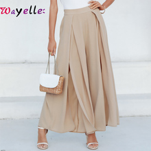 2019 Autumn Elegant Women Pants Wide Leg Elastic High Waist Split Trousers Casual Streetwear Fashion Female Palazzo Pants