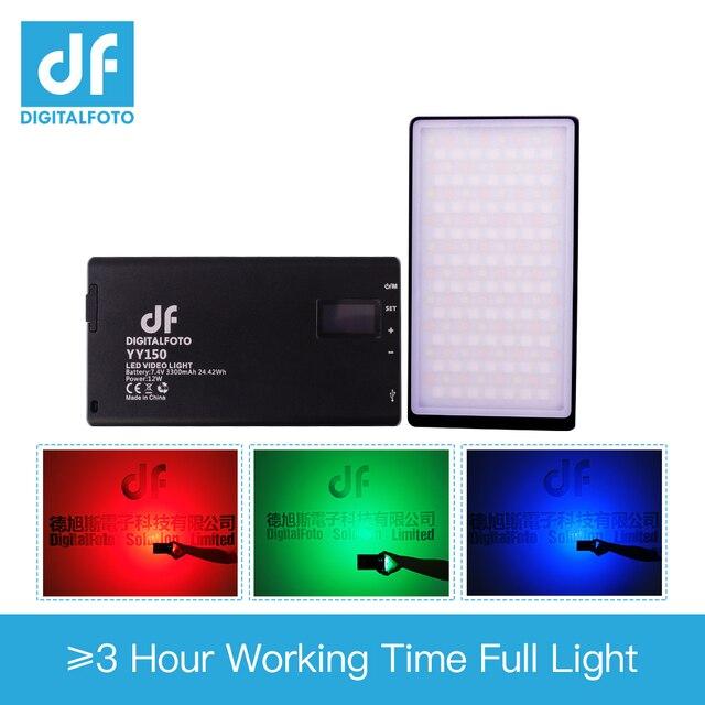 Df YY150 & YY135 Led 12W 2500K 8500K Dimbare Rgb Led Ultra Dunne Videopanel Licht Voor vlogging Video Dslr Youtube Fotostudio