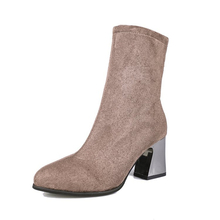 XZ065 New Flock Ankle Boots Women Autumn Winter Fashion Pointed Toe High Heel Zipper Woman Chelsea Boots Sexy Square Women Shoes