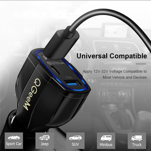 Image 4 - QGEEM QC 3.0 USB C Car Charger 3 Ports Quick Charge 3.0 Fast Charger for Car Phone Charging Adapter for iPhone Xiaomi Mi 9 Redm