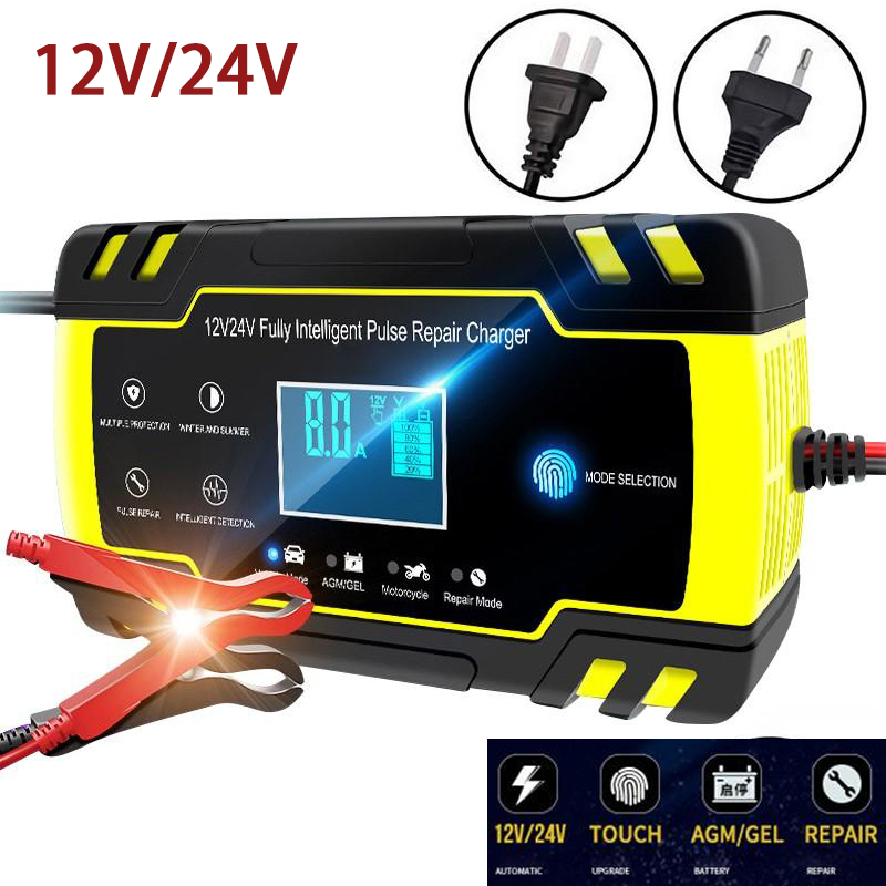 12V-24V 8A Intelligent Car Battery Chargers Digital LCD Display Battery Chargers Power Puls Repair Chargers Wet Dry Lead Acid