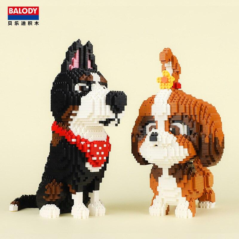 Balody Mini Blocks Pet Model Small Bricks Dachshund Dog Toy Assembly Brinquedos Cute Rabbit Kids Gifts Toys For Children 16127