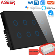 ASEER 1/2/3/4/8 Gang Smart wall switch WIFI,Crystal Glass Wireless Light switch,Tuya App WIFI remote Switch,With google alexa