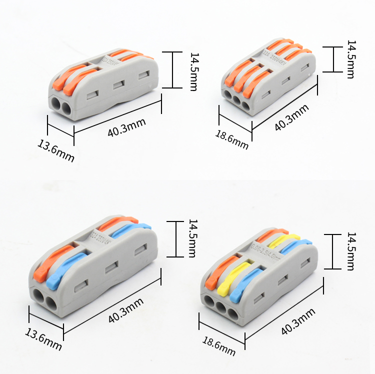 Top Sale50PCS Universal Mini Fast Wire push-in Lever nut Conductor compact wire connector Terminal Block SPL-2/3 PCT-222 223 3 in 3 out