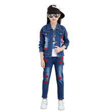 2019 New Boys Girls Spring Fall Style Denim Jacket + Jeans Two-piece Denim Clothing Set Red Lips Embroidery Children Clothes Set