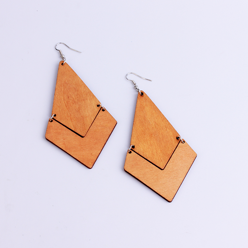 New Large Long Arrows Natural Wooden Earrings Statement Colorful Geometric Drop Earrings Boho Jewelry Gifts For Women Lady Girls