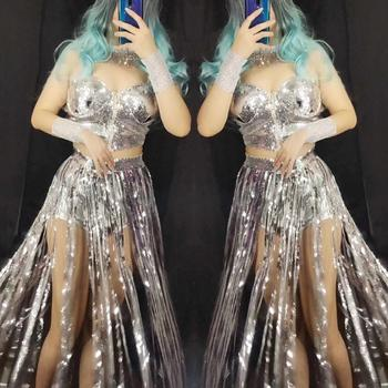Personalized Silvery Metal Sequin Tassels Womens Fashion Performance Costumes Nightclub Style Female DJ Dance Stage Clothing