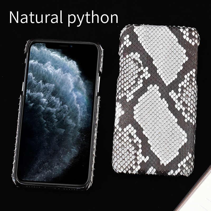 Genuína Python Couro Phone Case Para iPhone 5 11Pro 11 Pro Max X XS max XR 5S 6 6s 7 8 mais SE 2020 Novo de pele de cobra de luxo Capa