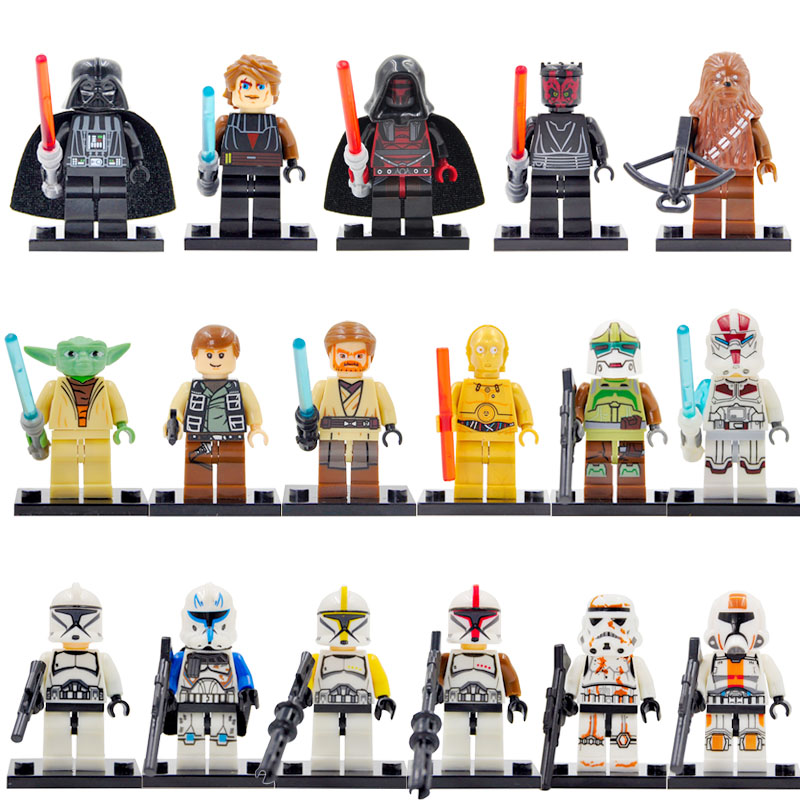 17pcs/lot Classic Star Wars Clone Trooper Figure Soldiers Yoda Darth Vader Luke C-3PO Bacca Building Blocks Sets Toys Legoing