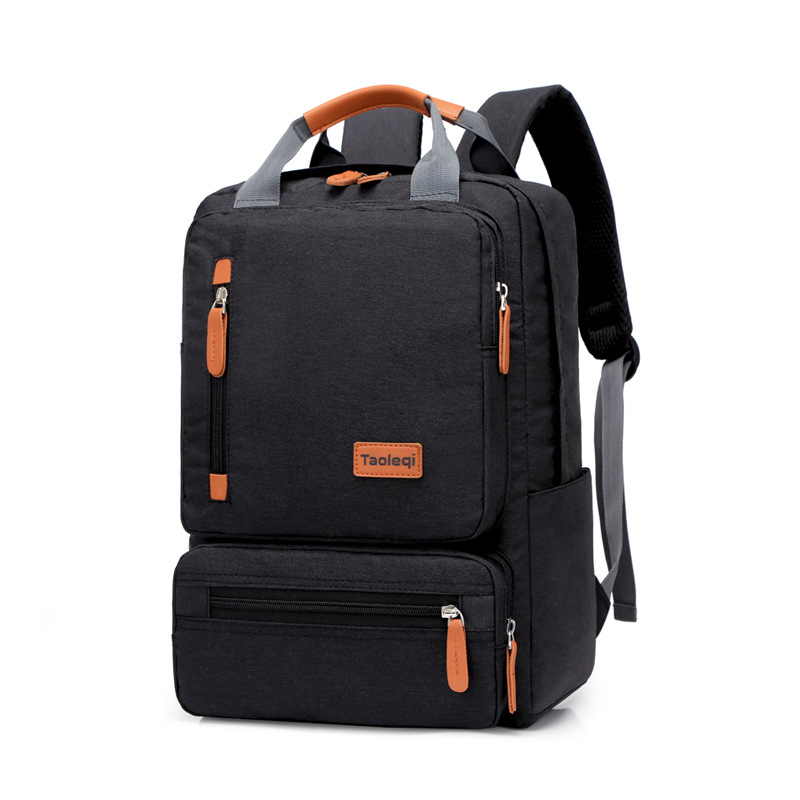 Fashion Solid Color Men's Casual Backpack Teenagers Student Bookbag Multifunction High Capacity Travel Notebook Computer Backbag