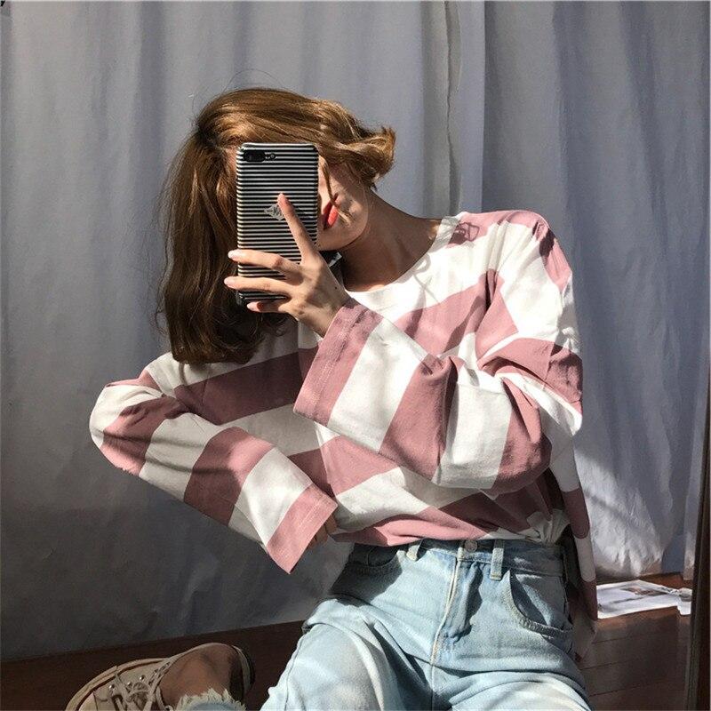 Harajuku pasiasta koszula Streetwear kobiety ubrania 2020 koreański styl z długim rękawem Vogue Camisa Mujer spadek koszulkę Femme Plus rozmiar 3