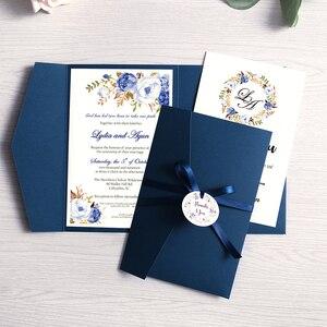 Image 3 - 100 個結婚式の招待状ブルーポケットブルゴーニュグリーティングカード封筒カスタマイズパーティーリボンとタグ