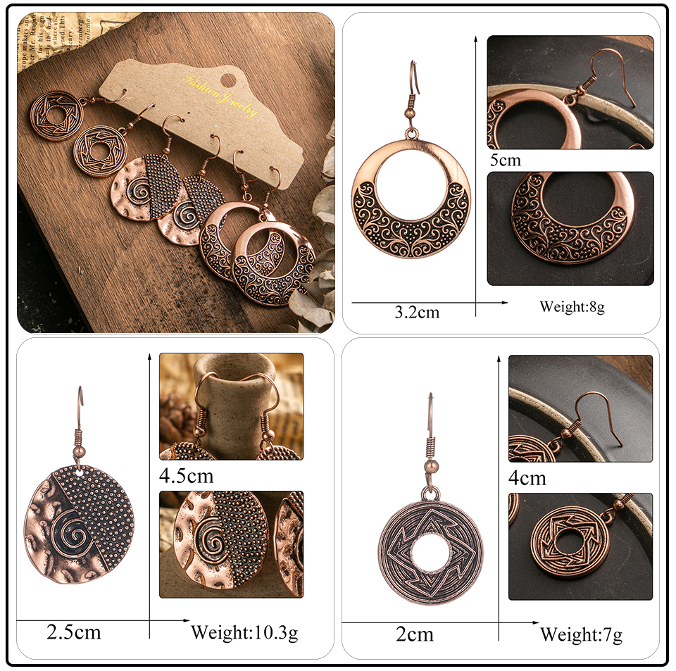Ethnic Rose Gold Metal Tassel Fringe Womens Earrings Sets Jewelry Bohemia Vintage Round Circle Leaf Butterfly Geometric Drop Earrings Dropshipping Wholesale (12)