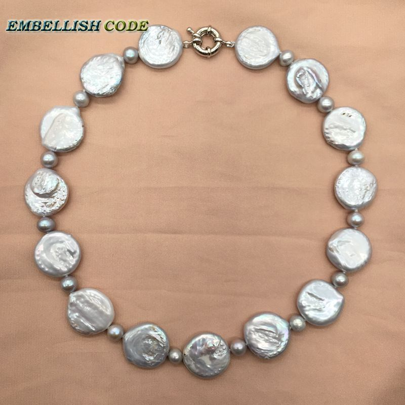large statement necklace gray color coin pearls 8mm beads grey natural freshwater nearround and flat mix Party Jewery
