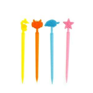 24pcs Plastic Love Heart Disposable Food Fruit Picks Forks Stick Decoration Accessories Creative Kitchen Multicolor Forks