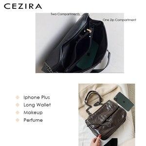 CEZIRA модные из искусственной кожи Хобо для Для женщин Роскошные нитки дамские туфли-лодочки с молнией дизайнерские через плечо Сумки цепи сумка мессенджер Bolsa