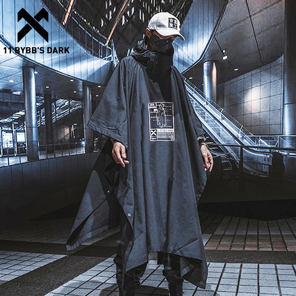 11 BYBB'S DARK Hip Hop Long Jacket Coat Men Irregular Trench Jackets Harajuku Pockets Turtleneck Streetwear Techwear Coats Cloak
