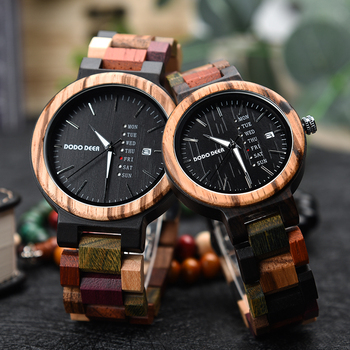 DODO DEER Couple Wooden Watches Quartz Movement Multifunction Watch Male Female watches clock Accept Custom Dropship