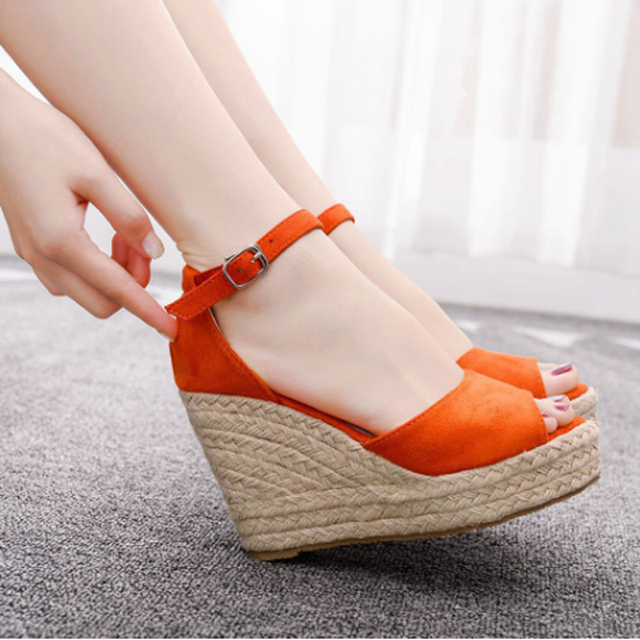 Women's hot style wedge sandals comfortable fish mouth sandals hemp rope high heel fish mouth sandals high heels for women 10cm 3
