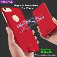Para ip 8/7/6 caso de energia da bateria do telefone estendido para o iphone 8/7/6s/6 plus caso carregador de bateria magnética sem fio para iphone xs/x