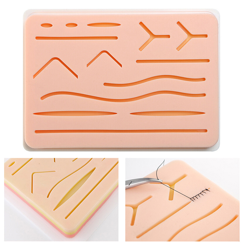 1pcs Practice Suture Pad Medical Silicone Skins Pad Suture Incision Surgical Training Kit Traumatic Pistol Simulation Training