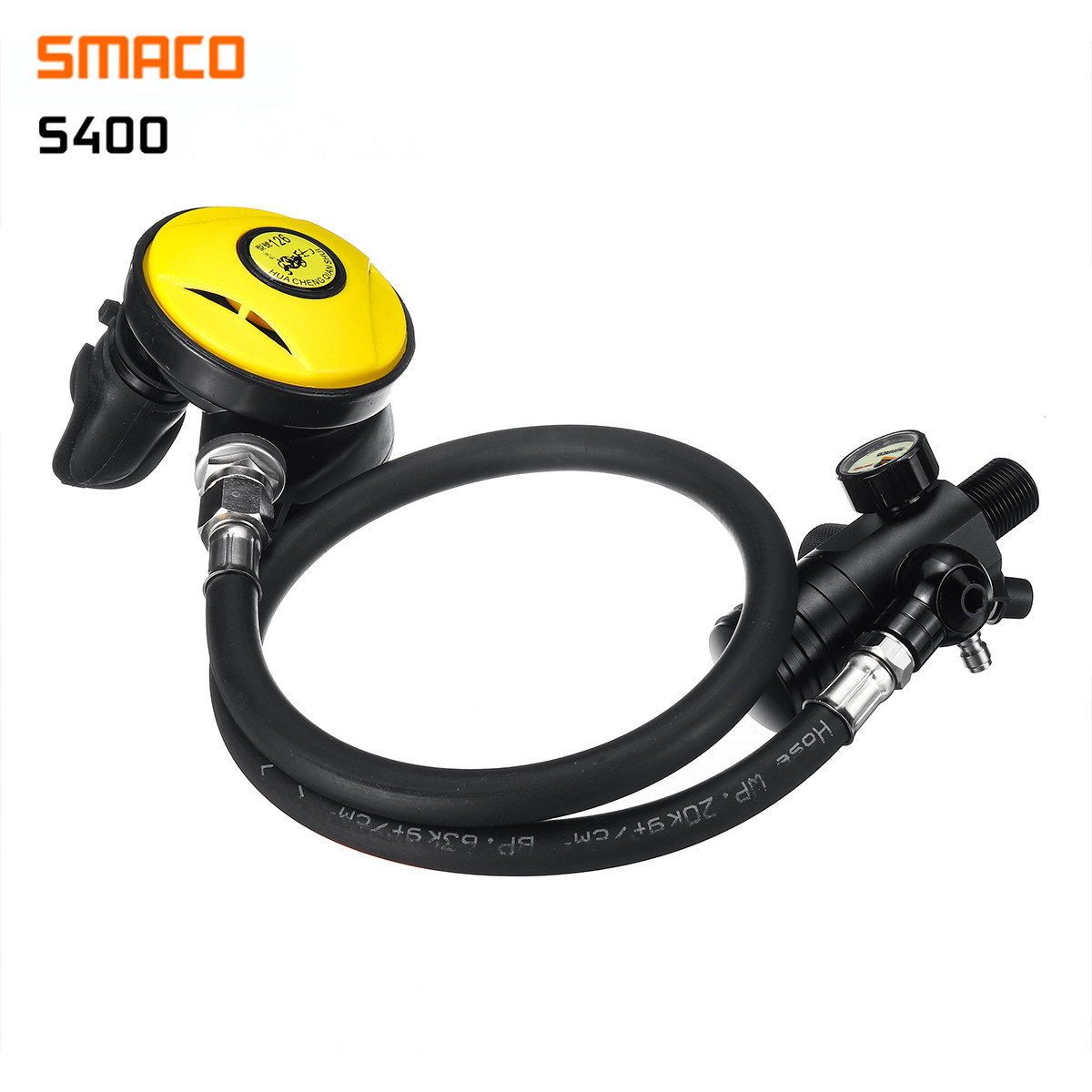 SMACO S400 Diving Equipment Mini Scuba Oxygen Cylinder Snorkel Air Tanks PCP Diving Valve Snorkeling Respirator Refill Adapter