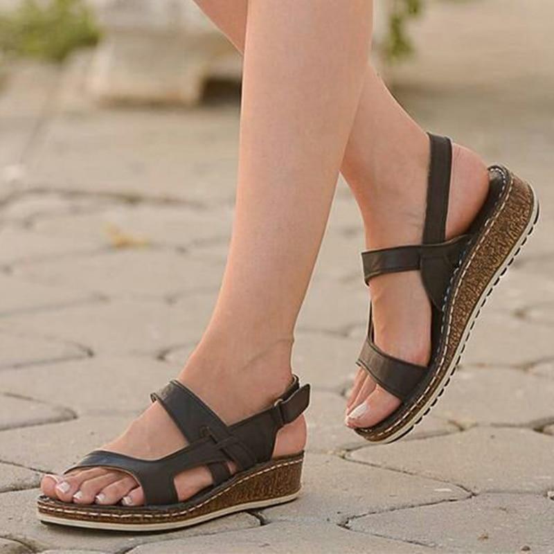 Women Sandals Classic Summer Sandals Soft Bottom Wedges Shoes For Woman Heels Sandals Beach Chaussures Femme Women Casual Shoes
