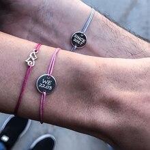 couples bracelet Custom women Personalized Engraving Custom name bracelet letter Stainless Steel red black rope bracelet women