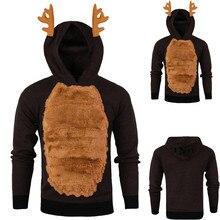christmas hoodies Xmas Hoody Reindeer Feather Hooded Christmas Fur 3D Blouse Top men pullover mens sweatshirts with fur
