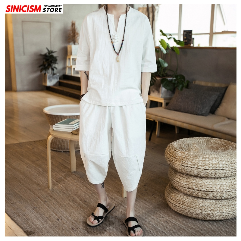 Sinicism Store Solid White Summer Tracksuit Men 2020 Mens Linen Shorts Suit Sets Male Fashion Casual Chinese Style 2 Piece Sets