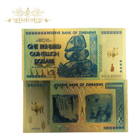 1000pcs Zimbabwe Rhinoceros One Hundred Quintillion Dollars Gold Banknote with UV Light for souvenir and collection gifts