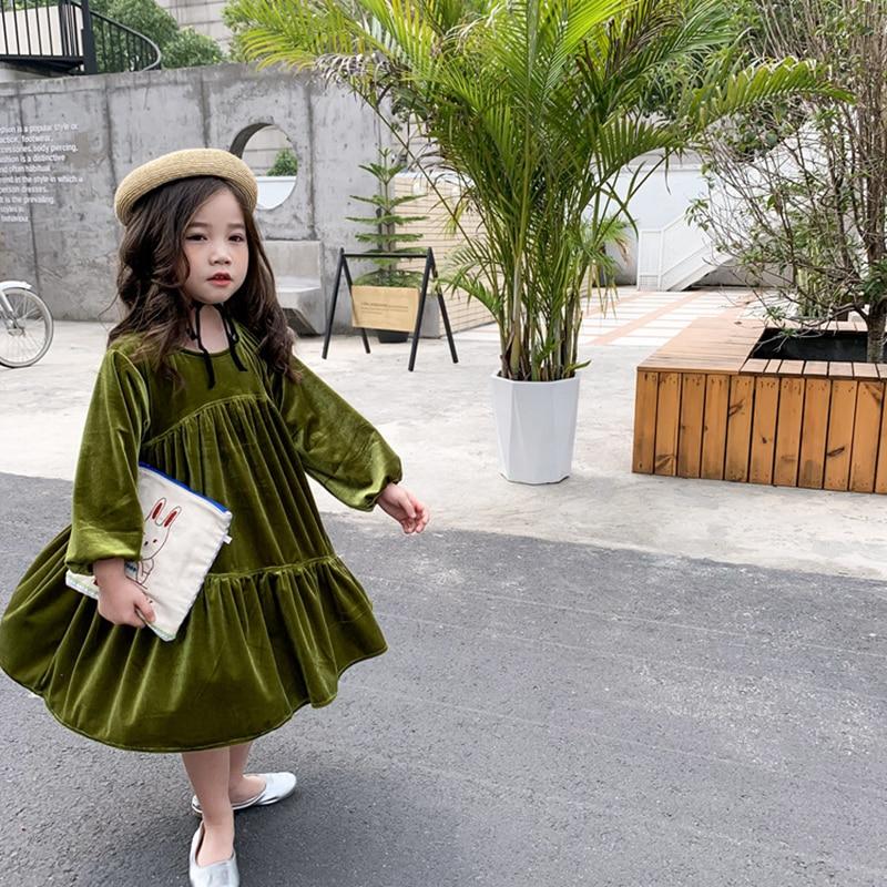 Big Offer 16a454 2020 Autumn New Girls Dress Children Long Sleeve With Bowtie Sweet Princess Dress Little Kids Velvet Long Casual Dresses Cicig Co
