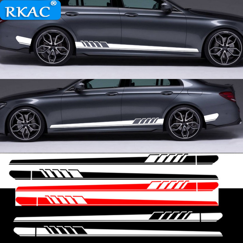 2pcs Car Side Body Sticker Vinyl Decal Long Stripe Stickers for <font><b>Volvo</b></font> V40 <font><b>V50</b></font> V60 S80 XC60 XC90 S60 Car <font><b>styling</b></font> image