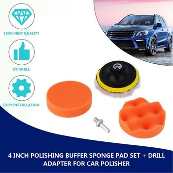 5 pcs 4 inch Car Sponge Polishing Pad Set Polishing Buffer Waxing Adapter Drill Kit for Auto Body Care Headlight Assembly Repair image