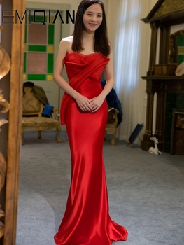 Sweep Train Mermaid Evening Dress, Sexy Strapless Red Satin Prom Dress,robe longue formelle - discount item  38% OFF Special Occasion Dresses