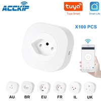ACCKIP Tuya WIFI Smart Socket Smart Plug EU UK Switzerland BR FR Israel Italy Plug 10A Remote Control Google Home Energy Monitor